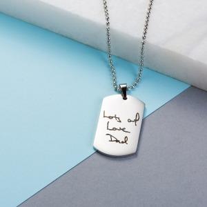 Mens Handwriting Dog Tag Necklace