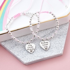 Pink & Silver Bead My Mummy & Me Personalised Bracelets - Inscripture - Children's Jewellery