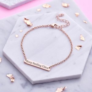 Personalised Rose Gold Bar Bracelet - Inscripture - Personalised Jewellery