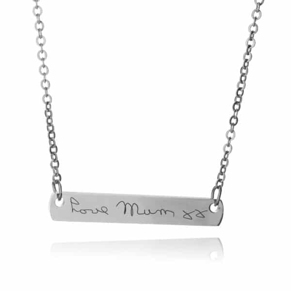 Silver Bar Necklace-Inscripture
