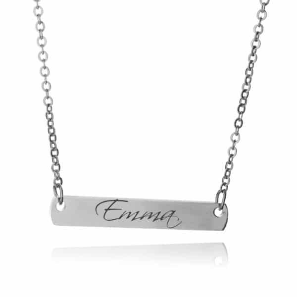 Inscripture- Silver Bar Necklace