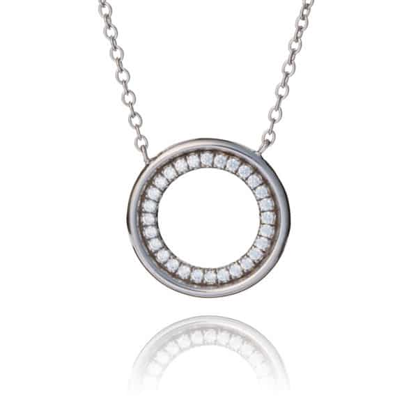 Inscripture - CZ Silver Circle Necklace