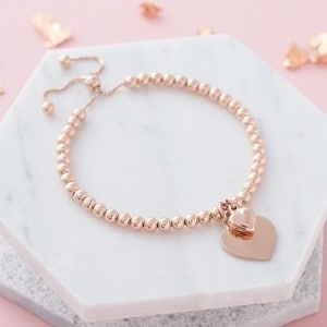 Handwriting Duo Rose Gold Bead Slider Bracelet