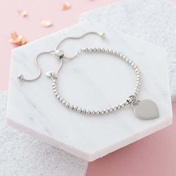 Inscripture Silver Bead Bracelet