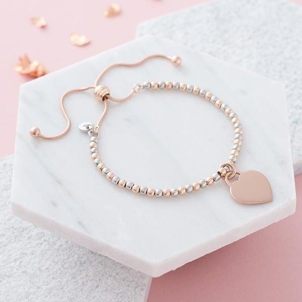 Inscripture Silver & Rose Gold Slider Bracelet