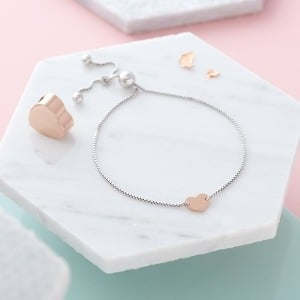 Heart Charm Initial Slider Bracelet - Inscripture - Personalised Jewellery