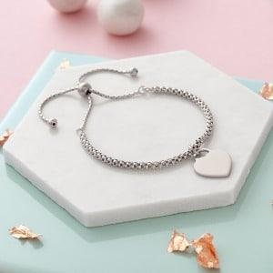 Silver Personalised Popcorn Slider Bracelet