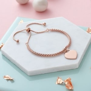 Handwriting Rose Gold Popcorn Bracelet - Inscripture - Memorial Jewellery