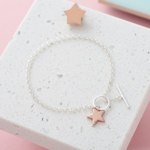 Personalised Initial Two-Tone Star T-Bar Bracelet - Inscripture - Personalised Jewellery