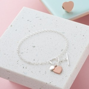 Personalised Two Tone Heart T Bar Bracelet - Inscripture - Personalised Jewellery