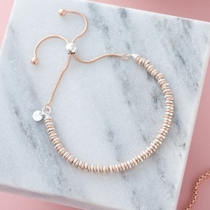 Handwriting Two-Tone Rose Gold Flat Bead Bracelet