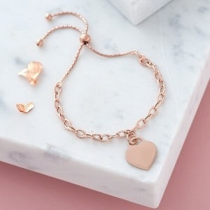 Personalised Rose Gold Chain Slider Bracelet - Inscripture - Personalised Jewellery