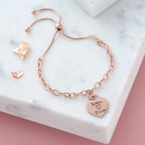 Handwriting Rose Gold Chain Slider Bracelet - Inscripture - Memorial Jewellery