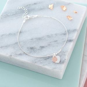 Two Tone Initial Heart Bracelet