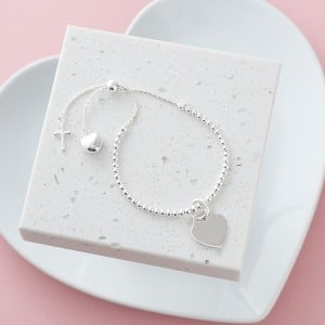 Personalised Silver Cross & Heart Slider Bracelet - Inscripture - Personalised Jewellery