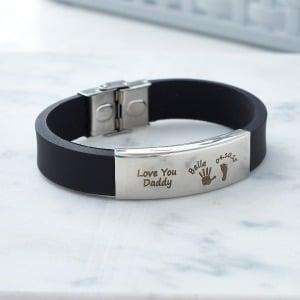 Handwriting Black Cuff Bracelet - Inscripture - Memorial Jewellery for men