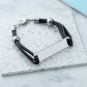 Personalised Black Leather Bar Bracelet