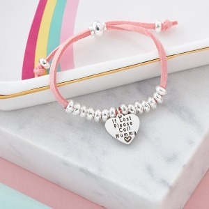 Personalised Suede Silver Bead Bracelet - Inscripture - Personalised Jewellery