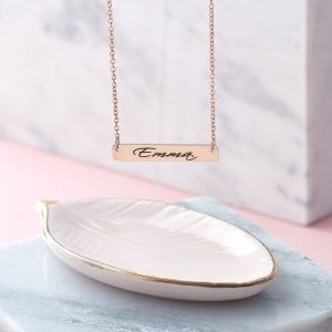 Handwriting Rose Gold Bar Necklace