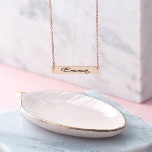 Handwriting Rose Gold Bar Necklace
