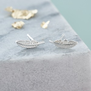 Silver Feather Earrings - Inscripture - Personalised Jewellery