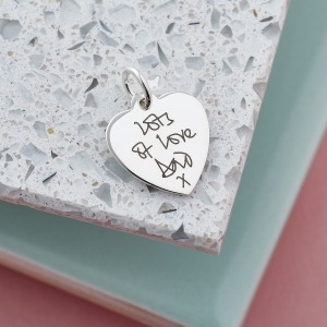 Handwriting Sterling Silver Heart Charm
