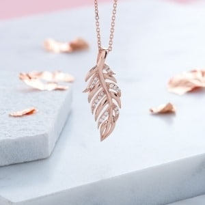 Rose Gold Leaf Necklace - Inscripture - Personalised Jewellery