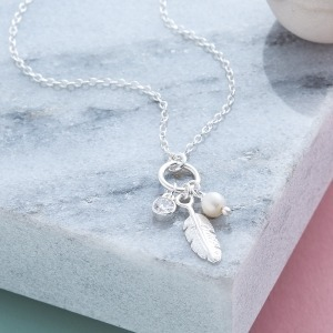 Feather, Pearl & Crystal Necklace