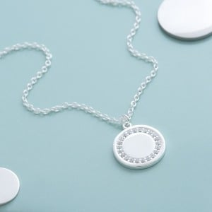 Personalised Initial Halo Necklace - Inscripture - Personalised Jewellery