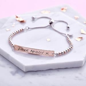 Actual Handwriting Slider Bracelet