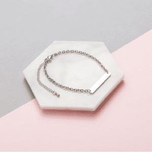 Silver Personalised Bar Bracelet
