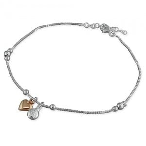 Two Tone Heart & Ladybird Anklet - Inscripture - Personalised Jewellery