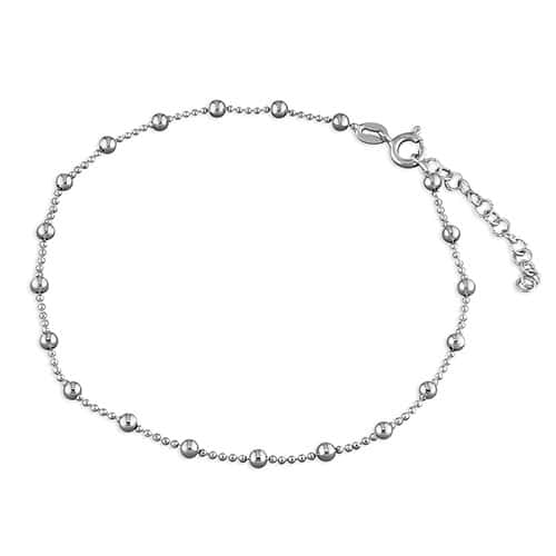 Inscripture - Silver bead anklet