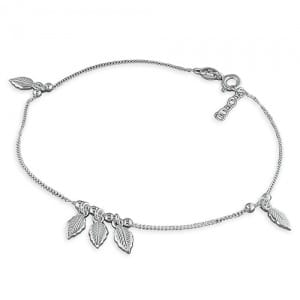 Silver leaf anklet - Inscripture - Personalised Jewellery
