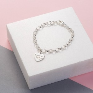 Handwriting Sterling Silver Heart Charm Bracelet - Inscripture - Memorial Jewellery
