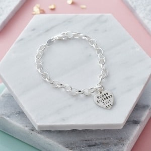 Personalised Sterling Silver Heart Charm Bracelet - Inscripture - Personalised Jewellery
