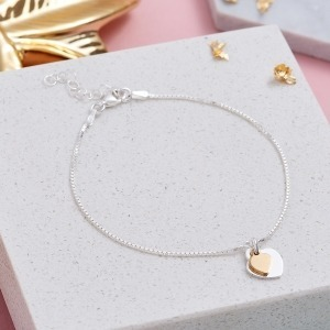 Personalised Two Tone Sterling Silver & Gold Heart Bracelet - Inscripture - Personalised Jewellery