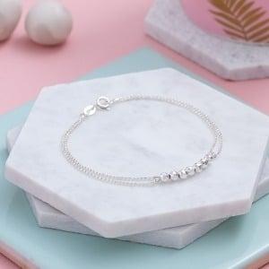 Sterling Silver Fancy Bead Bracelet - Inscripture - Personalised Jewellery
