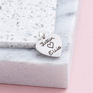 Handwriting Heart Charm - - Inscripture - Memorial Jewellery