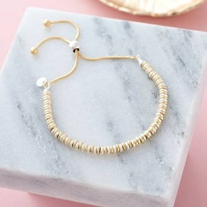Personalised Two Tone Gold Flat Bead Bracelet
