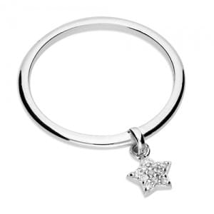 Silver star droplet ring - Inscripture - Personalised Jewellery