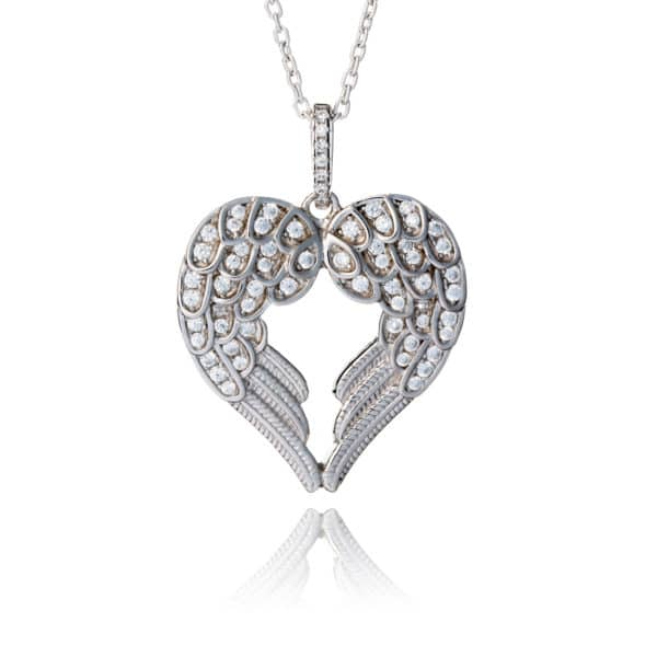 Inscripture - Silver Double Angel Wing Necklace