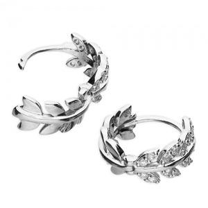 Silver Leaf Huggie Earrings - Inscripture - Personalised Jewellery