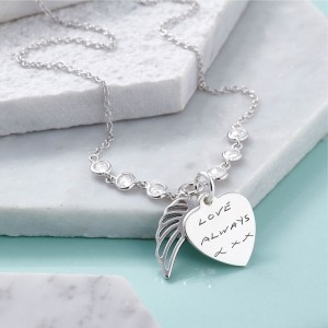 Actual Handwriting Angel Wing Necklace