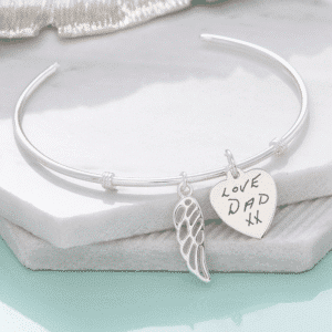 handwriting sterling silver angel wing bracelet - Inscripture - Memorial Jewellery