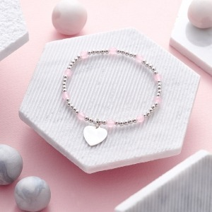 Rose Quartz and Sterling Silver Personalised Bracelet - Inscripture - Personalised Jewellery