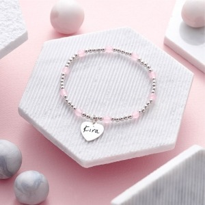 Actual Handwriting Rose Quartz Personalised Bracelet - Inscripture - Memorial Jewellery