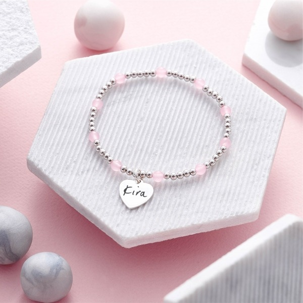 Inscripture Sterling Silver & Rose Quartz Bracelet