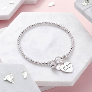 Handwriting Sterling Silver Bell Bracelet - Inscripture - Memorial Jewellery