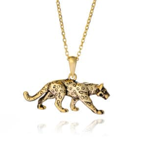 gold leopard necklace - inscripture - personalised jewellery